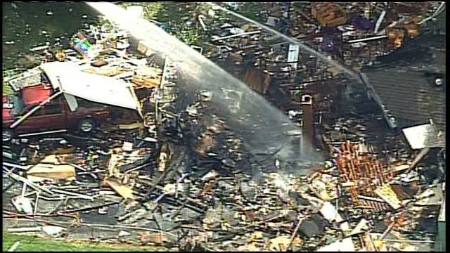 Home explodes from gas leak.